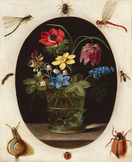 <p>Clara Peeters, Still Life with Flowers Surrounded by Insects and a Snail, c. 1610