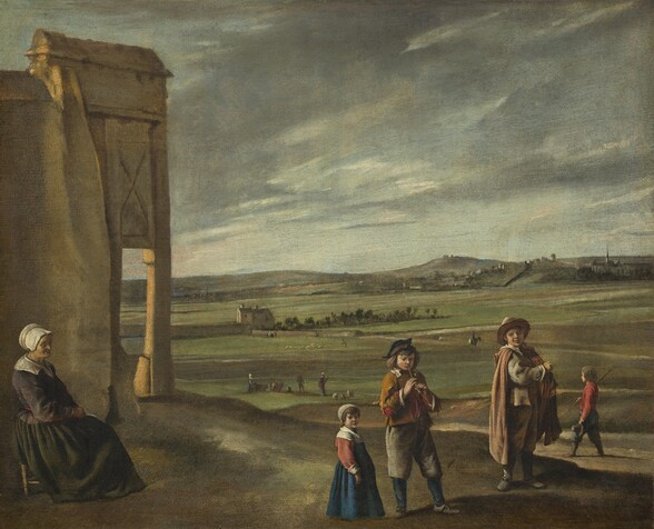 An elderly woman sitting on a small stool and four children stand along the foreground of a landscape with rolling, olive-green fields leading back to low, slate-gray mountains in this nearly square painting. The horizon comes about halfway up the painting, and the sky above is filled with a sheet of steel-gray clouds that break to reveal patches of ice-blue sky. Closest to us and along the left edge of the painting, the woman sits near a structure with a fragment of wall and a column that could be made from tan colored stone. The woman faces our right in profile and looks at or toward three children gathered on a low hill to our right. Her lined face is partially cast in shadow by her white bonnet, but her skin is yellowed where the light hits the side closer to us. A wide, white collar lays across the shoulders of her dark, plum-colored jacket, which is tied with a narrow red belt. Her hands rest in the lap of her full, moss-green skirt that falls to her feet and covers most of the stool. To our right, two boys and a little girl stand on a low hill. They all stand with their bodies angled to our right, and all have pale skin and brown hair. To our left in the trio, the young girl wears a royal blue dress with brick-red, long sleeves and a wide, white collar, cuffs, and cap. Next to her, a slightly older boy wearing gray knee-britches, a honey-orange jacket with a white collar, and a blue, tricorn hat looks down and plays a thin pipe. His jacket is torn at the elbows, revealing a scarlet-red shirt beneath. To our right, the oldest boy wears a sienna-brown cloak over a slate-gray jacket and tan trousers with a tan brimmed hat. He holds his right arm, closer to us, across his chest as he touches an instrument nestled in the crook of his other elbow. Another bareheaded boy wearing a ruby-red shirt and blue trousers walks beyond this trio, holding a short pole over one shoulder and a brimmed hat in his other hand. He walks toward our left and looks to the horizon, whic