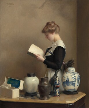 """A fair complexioned young woman dressed in a black and white servant's uniform stands reading a book behind a collection of urns, a figurine, and a stationary box arrayed on a tabletop in this vertical painting. Seen from about the hips up, the woman faces our left in profile as she gazes down at the open book in her hands. She has a turned up nose, smooth skin, and her lips are slightly parted over a rounded chin. Her blond hair is pulled up in a bun and she wears a black dress with a wide, white collar and a white apron tied around her waist. A feather duster with a black handle is tucked under her left arm, closer to us, so the dark feathers fan out behind her. She stands in the corner of a room with light tan walls. Between us and the woman and running parallel to the bottom edge of the canvas, a wooden gaming table inlaid with a black and white checkerboard pattern on its top holds five objects. To our left, the hinged lid of a white rectangular box has been opened to reveal ivory colored note cards and envelopes. The inside of the box lid is painted cobalt blue. Next to the box is a white ceramic jar with a rounded body and a flat, dark lid. At the middle of the table and a little closer to us, a brown vase with a tall, inward curving neck sits next to a figurine of a person wearing a blue and pink kimono. Lastly, a white lidded jar painted in blue with a person and landscape sits to our right. The artist signed and dated the painting in dark, capital letters near the upper left corner: """"PAXTON"""" and """"1910."""""""
