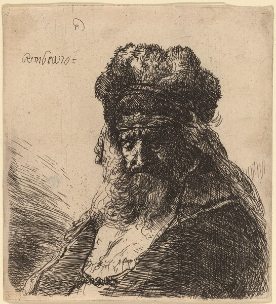 Old Bearded Man in a High Fur Cap, with Eyes Closed