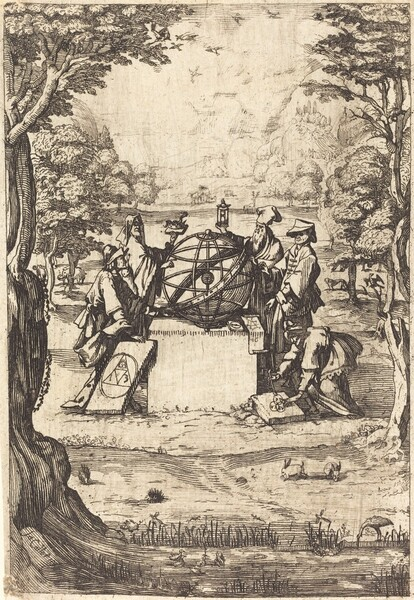 Frontispiece for the Sacred Cosmologia (Title With Astrologers)