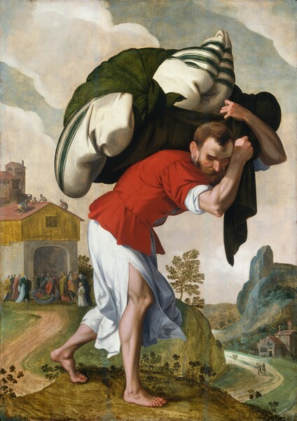 A light-skinned man walking hunched over as he carries a large bundle like pillows wrapped in a blanket on his back nearly fills this vertical painting, and is shown against a landscape with a group of people gathered at the arched opening to a building in the distance to our left. Close to us, the man walks to our right with his head down and his eyes closed or downcast under straight, furrowed brows. He has a wide, prominent nose, a brown beard, and close-cropped hair. With muscled forearms arms raised overhead, he clutches the forest-green cloth tied around the bedding, which has dark green stripes on a cream-white cloth. The man wears a tomato-red, waist-length tunic over an ankle-length, bright white garment, which splits up the side to show his muscular legs and bare feet. He strides across a moss-green rock. Beyond, to our left, a sand-brown path curves away from us to the wide, arched opening of the building. The structure has gray walls, possibly stone, with goldenrod-yellow paneling around the second story, and a brick-red roof. A couple dozen people, tiny in scale, gather around a person who stands and gestures with arm extended over a second person lying on a bed. The four corners of the pallet are lifted by four ropes, barely visible, where the bed had been lowered to the ground from above, presumably from the four people on the roof. The people in the crowd wear robes in mustard yellow, navy blue, plum purple, dark red, and off white. Another building and a stone tower rise beyond the structure. To our right, the land dips down to the horizon line, which comes about a quarter of the way up the painting. People walk along the distant path that passes in front of a house at the foot of a steel-blue, rocky outcropping. A leafy tree grows where the road bends out of sight, and bands of cream-colored clouds stretch across the pale turquoise sky.