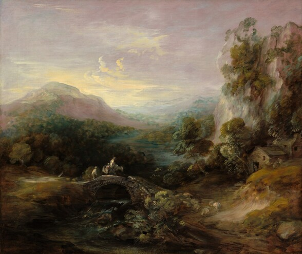 A lush landscape with a sparkling river winding through forest-green trees and vegetation between rolling hills and mountains extends into the deep distance under a pale, orchid-purple sky in this nearly square landscape painting. The work is loosely painted so some details are difficult to make out, especially in the area closest to us. Touches of sage and pine green against a peanut brown ground create the impression of dense foliage along the foreground. Small in relation to the landscape, one person on horseback, two people on foot, and perhaps a dog cross an arched bridge spanning a narrow stream to our left of center. To our right of the bridge, a few round forms could be sheep or perhaps more indistinct plants. Nearby, a stone house with a wood roof is surrounded by tall trees at the base of a cliff that rises precipitously along the right edge of the canvas and nearly reaches the top. The topaz-blue river widens as it winds into the distance beyond the bridge. Forests of deep green trees line the river along a mauve-colored mountain peak to our left. The trees, river, and more mountains become hazier and more indistinct farther in the distance. The horizon line comes just over halfway up the composition, and the sky is streaked with pale butter-yellow over the mountain to our left under light lilac colored clouds or haze.