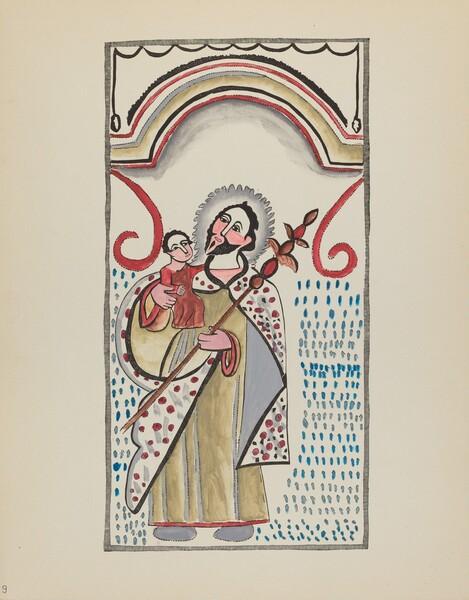 Plate 9: Saint Joseph & Child: From Portfolio Spanish Colonial Designs of New Mexico