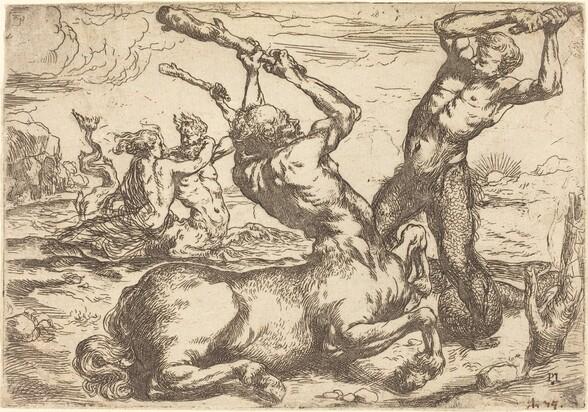 Battle between a Centaur and a Triton