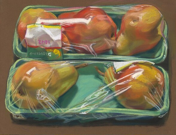 Grocery-wrapped Pears