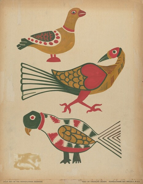 Drawing for Plate 10: From the Portfolio Folk Art of Rural Pennsylvania