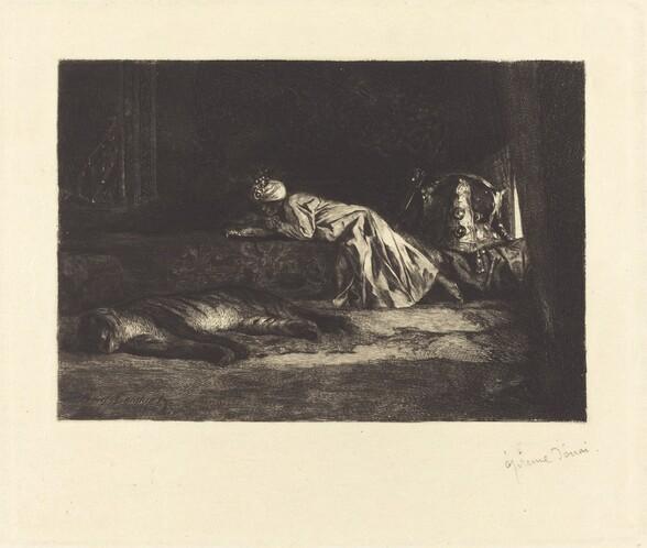Oriental Interior with Sleeping Tiger