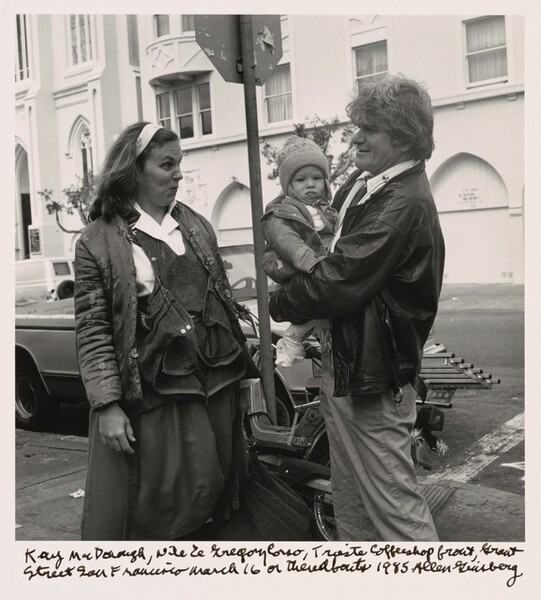 Kaye McDonough, Nile, and Gregory Corso, Trieste Coffeeshop front, Grant Street San Francisco March 16 or thereabouts 1985.