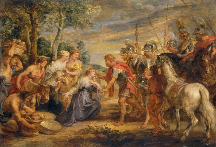 A man and woman greet each other at the center of a group of about a dozen people set within a landscape in this horizontal painting. All the people are light-skinned. In the middle of the crowd, a woman, Abigail, kneels to our left while a man, David, reaches out to her to our right. Abigail's blond hair is tied back under a white veil that drapes over her shoulders, and she wears a slate violet-blue dress and a string of pearls around her neck. She holds her left hand, on our right, to her chest and her opposite hand gestures downwards towards a basket of bread held by a swarthy man in the lower left corner of the painting. David stands and bends towards Abigail as he cups her bent elbow with his left hand. His other hand rests on a walking stick near her head, and his index finger is extended as if to brush her cheek. He has short, curly blond hair and beard, and he wears a thigh-length tunic under a breastplate. Crimson fabric drapes around his shoulders and over his armor, and a dagger or short sword hangs at his hip. Three women, three men, and a donkey gather to our left, behind Abigail. Two men hold large baskets of bread and all look towards Abigail and David. Six armored men, two younger people, and two horses make up the group to the right. Trees line a hill behind the people to our left and dark gray and amber-colored clouds fill the sky.