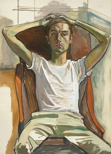 Shown from the knees up, a man with light skin shaded with sage green sits in a carrot-orange, high-backed chair, looking at us in this vertical portrait. Brown hair sweeps across his forehead and his interlaced fingers rest on his head so his elbows splay to the sides. The green shading is especially noticeable in the contours of his face and the underside of his thin arms. One black eyebrow is slightly arched over pale silver eyes. His pink lips are closed in a straight line and there is the suggestion of a cleft in his chin. He wears a white tee shirt and khaki pants, and his knees are relaxed open. His chest is slightly sunken in as he leans into the chair. Brushstrokes are noticeable throughout, and the background is especially loosely painted. Areas of watery lavender, pale blue, and tan suggest the structure of a room. The light falls onto the man from our left. The eye is especially drawn to the black outlines around the man's body and clothing.