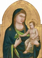 A woman with pale white skin holds a baby in the crook of her left arm, on our right, against a gold background in this vertical, arched wooden panel. The woman, the Virgin Mary, is shown from the waist up with her body angled slightly to our right. She wears a deep blue mantle that drapes over her head and shoulders, and across her body. The garment has a gold border and celery green lining where it turns over at her wrists and chest. There is a gold starburst-like symbol on her right shoulder, our left, and she holds a stylized rose with her right hand. The infant Christ is nude except for a translucent white cloth, also edged with a gold border, wrapped around his waist and legs. His face and body look more like a small man than a baby, but there are baby-like rolls at his wrists. He has blond wavy hair. He grips the forefinger of the hand his mother uses to hold him with his left hand, and he reaches for the rose with his right. The gold background is punched to create halos around each figure's head and decorative bands at the perimeter of the curving, arched top.