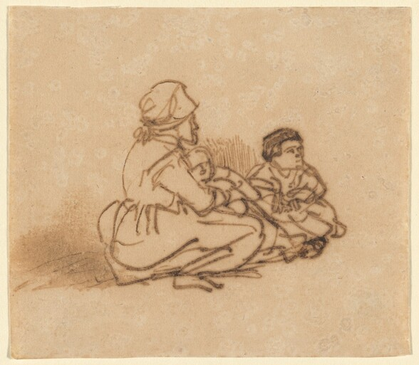 Woman Seated on the Ground with Two Children