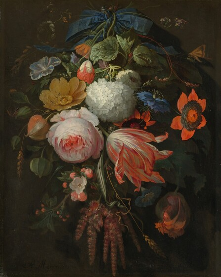 <p>Abraham Mignon, A Hanging Bouquet of Flowers, probably 1665/1670