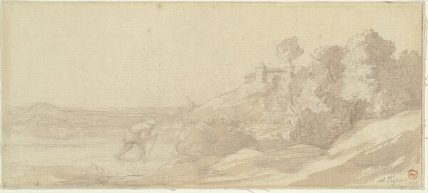 Landscape along a Riverbank with a Figure