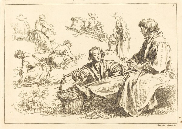 Figure Studies including Two Seated Peasants