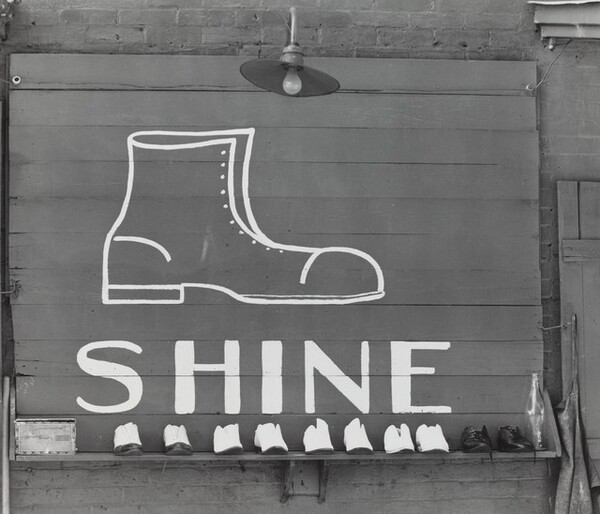 Shoeshine Sign in Southern Town, 1936