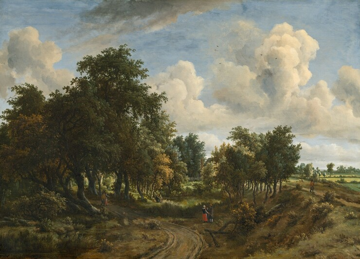 """We look down on a rutted, dirt road that curves from the bottom center of the canvas toward and behind a grove of tall trees to our left, beneath a pale blue sky with fluffy white clouds that fills the top two-thirds of this horizontal landscape painting. The broad, green canopies of the trees to our left create deep shade over twisting trunks, shrubs, and grasses. A narrow stream meandering alongside the road to our left reflects the moss, pine, and sage greens of the leaves. The land rises in a sloping bank to our right, and leads back to open fields with hedgerows that stretch to the horizon. Shorter, more spindly trees cluster along the bank in the distance. Tiny in scale, people are sprinkled throughout the landscape, either singly or in small groups. In the shade of the grove to our left, a man with dark pantaloons, tawny brown hat and coat, and a walking stick strolls along the road with a woman wearing a crimson-red skirt, a dark shirt, and a white apron and cap. Just off the curve of the road to our right, another man with walking stick, tan hat, and dark grey pantaloons talks to a woman also wearing red, black, and white. Another person, slightly smaller in stature, stands between them. At a pond farther back from this trio, a man with a broad-brimmed hat sits fishing at the edge of the water. Barely visible, a house with a pitched roof, a tall, brick-red chimney, and a white picket fence peeks out from behind the trees beyond the pond. Finally, a man wearing a rust-orange coat, gray pantaloons with white stockings, and a tall hat, carrying a pole propped on his shoulder, walks toward us on a footpath running alongside the fields. Tall, cream-colored clouds dot the pale blue sky above, and tiny dots of dark paint suggest flying birds. Soft sunlight pours across the countryside. The artist signed and dated the painting in small script in the lower right corner: """"meijndert Hobbema F 1663."""""""