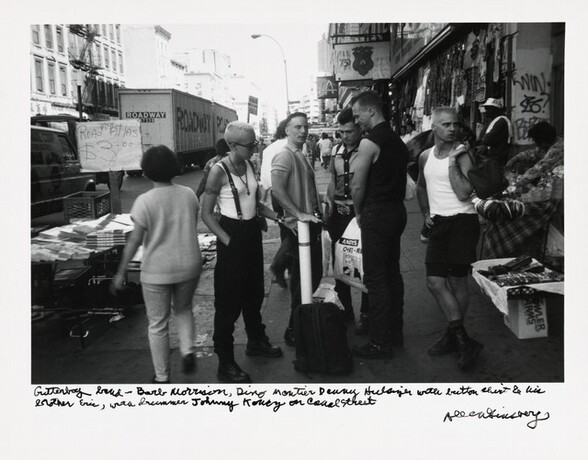 Gutterboy band—Barb Morrison, Dito Montiel Danny Hulsizer with button shirt & his brother Eric, with drummer Johnny Koncz on Canal Street