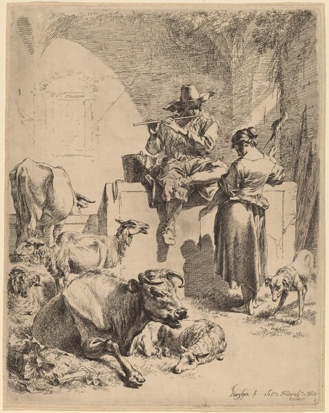 The Shepherd Seated on a Fountain and the Spinner