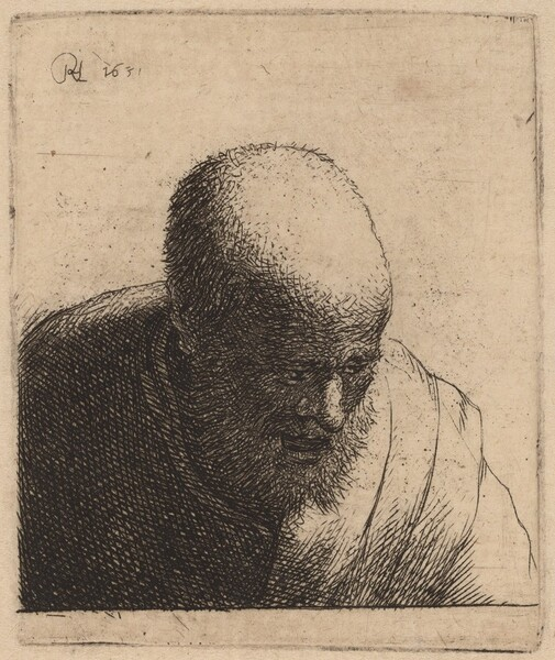 Bald Man with Open Mouth, Looking Down