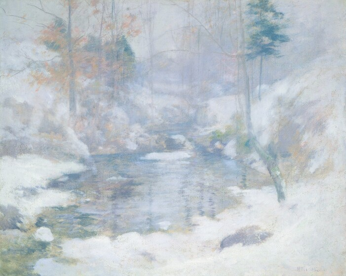 A stream meanders back through snowbanks in this wooded landscape, which is created entirely with cool, pale tones of white, gray, blue, lilac, and golden beige in this nearly square painting. Steep banks sloping towards the stream are mounded with snow. Touches of tan and pale pink suggest traces of foliage in some of the tree branches above. The paint is loosely applied so some brushstrokes are visible, creating a soft, hazy view of this scene.