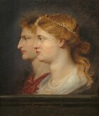Seen from the chest up, a man and woman, both with ivory-colored skin, face our left in profile against a dark background in this vertical portrait painting. The woman is situated closer to us so she overlaps the man, whose profile is shifted to our left. The woman's eye we can see is brown and she looks ahead from under a gently arched eyebrow. She has a straight, aquiline nose, faintly blushed cheeks, and her pink lips are closed. Her reddish-gold hair is pulled back into a loose knot at the base of her head, and locks fall down her neck. Her hair is braided across the crown of her head, which is encircled with a string of pearls and adorned with a red jewel over her forehead. Gossamer white fabric wraps around the base of her long neck. The man behind her and to our left has a slightly darker, more tan complexion. He looks ahead with brown eyes from under lowered eyebrows. He has a long, bumped nose and his pink lips are closed. He has darker gold hair and wears a burgundy-red robe around his shoulders. They seem to occupy a shallow space behind a stone ledge that runs along the bottom edge of this composition. The light that illuminates them from the front creates a halo-like effect on the midnight-blue background behind them. The number 19 is painted in the lower left corner.