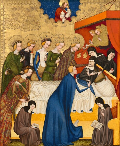 A dozen people surround a woman reclining in a bed in front of a gleaming gold background in this vertical painting. All the people have creamy white skin. Red curtains drape from a shallow awning-like form of the same color hanging over the head of the bed to our right, and the foot of the bed almost reaches the left side of the panel. The woman on the bed, Saint Clare, lays back against pillows with her hands crossed over her chest and her eyes closed. A white cloth covers her body from the waist down. She and two women attending to her from behind the head of the bed wear nun's habits with black robes and head coverings over high-necked white collars. A row of five women line up along the far side of the bed, looking at Saint Clare. They all have blond hair, pointed noses and rounded cheeks, and they all have crowns surrounded by halos, which have been punched into the gold leaf background. Their sumptuous dresses are in shades of vivid blue, forest green, white, or burgundy and gold. Each holds a different object, including one with what looks like the model of a castle tower and another a small basket of flowers. The woman closest to Saint Clare holds the nun's face in her hands. On our side of the bed, two more blond women kneel and lean onto the bed. One near the foot of the bed wears a maroon and gold brocade robe and holds a tiny dragon and the other kneels near Saint Clare wearing royal blue robes and is accompanied by a miniscule sheep. Two smaller, seated women flank the woman in blue on our side of the bed. They're about half the size of the other people and they wear nun's habits but with gray robes rather than black. Both look at open books in their laps. Two blond, winged angels hover within the awning over Saint Clare's head swinging incense burners. A bearded, haloed man in a blue field at the top center of the panel and holds a tiny, crowned person, and looks down at Saint Clare. The gold leaf background is punched with a decorative band at the pe
