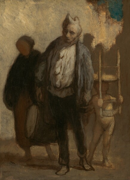 An older man, a woman, and a child who holds a chair upside-down on his head stand near each other in this vertical painting, which is made with dabs and strokes of muted grays, cream white, and golden tans. The scene is lit from our right, creating deep shadows. At the center of the composition, the man has light gray skin and he stands with his body angled slightly to our left, as he looks in that direction. His eyes are shaded and he has a round nose over a mouth mostly covered in shadow. His hat has two peaks like rounded horns and a smoke-gray scarf wraps around his neck. He wears a loose, cream-white shirt under a slate-blue jacket, and dark pants. His feet are loosely painted so it is difficult to tell if he is barefoot or if his shoes are sketchily painted. A rolled-up mat held under one arm and a small wooden box held with the other hand are loosely painted and nearly lost in shadow. To our right, just behind the man, the child wears a parchment-white, full body leotard with long sleeves and pants. His pale peach-colored hands grip the ladder back of the chair, which rests upside down on his head and casts his face into shadow. To our left, the woman is mostly in shadow. A brownish-peach colored oval suggests her face and she wears a dark garment, perhaps a shawl, over a coffee-brown, ankle-length skirt. Her weight rests on her right foot, to our left, and she holds a large drum by her other side. The background is painted indistinctly with an area of bone white in the upper left corner, which stretches nearly across the composition along the top. Most of the rest is darker sand brown with a small patch of turquoise-blue paint near the upper right corner.