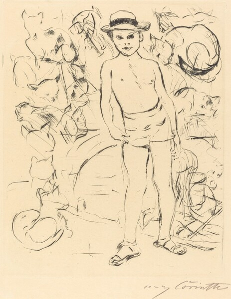 Knabe mit Badehose und Strohhut (Boy Wearing Bathing-Trunks and Straw Hat)