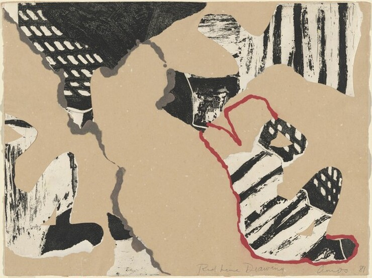 Emma Amos, Red Line Drawing, 1981