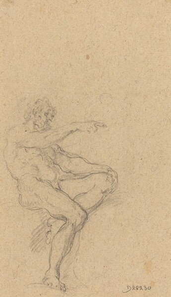A Seated Nude Man Pointing to the Right