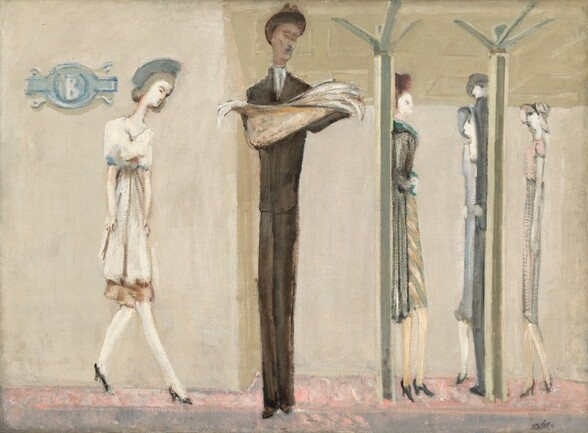 Six stylized, extremely elongated, thin men and women stand spaced across a shallow space in front of a cream-colored wall under a slightly darker, oatmeal-colored ceiling supported by two columns in this horizontal painting. The overall color palette is dominated by bone-white, tan, light steel-blue, and pale blush pink. Most of the people have smooth, ivory-colored skin but one man, to our left of center, has a darker, light brown complexion. He stands facing us wearing an ash-brown colored suit with a white shirt, a tie, and a brown fedora hat. He looks down at the open newspaper he holds in front of him. The four women wear dresses or skirts to just below the knee with high heeled, back pumps. Some wear coats and hats. To our left of the man with the newspaper, a woman takes a step on spindly feet so she faces our right in profile, arms down by her sides. One woman stands against one of the columns to our right and another, wearing a sky-blue dress and hat stands next to the other column, alongside a man wearing a charcoal-gray suit. A slate-blue, oval medallion with a white letter B at the center hangs on our wall to our left. The floor under the people is cotton candy pink farther away from us, beyond a band of smoke-gray along the bottom edge of the canvas.