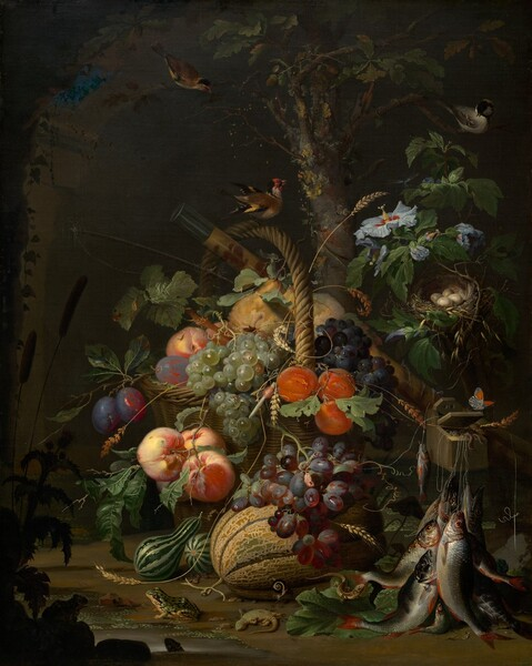 An abundance of plants, fresh fruit, flowers, birds, small animals, insects, and recently caught fish are piled in and tumble out of a woven basket in woodland setting in this vertical still life painting. The color palette is dominated by rich, fall harvest colors of jade and pine greens, plum purple, butter yellow, pumpkin orange with touches of silver and robin's egg-blue. The scene is lit strongly by our left and the background is swallowed in shadow. The wicker basket with its tall, arched handle seems to have been set before a rough-hewn, stone archway. Birds perch in the tree branches above the basket and on the handle. The fruit in the basket includes green, red, and purple grapes, peaches, plums, oranges, and yellow pears. Tendrils of wheat intertwine through the fruit and leaves, and around the handle. Green, striped gourds sit to our left next to a cantaloupe at the foot of the basket. Emerald-green frogs, a live and a dead lizard, a caterpillar, snail, and insects sit, lay, or move on the dirt ground around the gourds and melon.  To our right, about a third of the way up the composition, worms spill out of a wooden box from which hang several fishing lines holding recently caught, silvery fish. A small, ivory-colored butterfly with black markings and a patch of vivid orange on each wing sits on the lid of the box. Above the box of bait, a nest with four cream-colored eggs is tucked among the branches of a hibiscus plant with pale blue, flaring blossoms. A mossy, narrow oak tree trunk bearing acorns rises between the basket and in front of the stone arch, and off the top edge of the painting. A fishing rod and a cylindrical wooden case painted golden yellow with rust-red designs rests at an angle across the basket to the ground behind the tackle box to our right. Cattails, rocks, and the profile of frogs are shown in shadowed silhouette around a pool of water in the lower left corner.