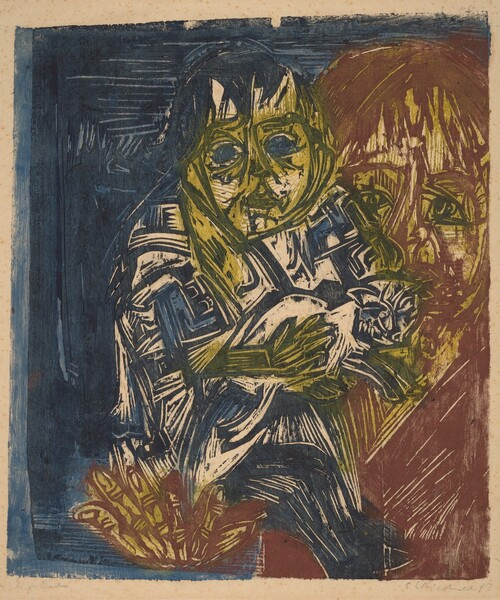 Woman with a Child and a Cat