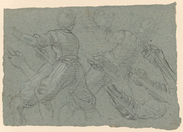 Studies of a Youth Pulling Ropes (recto); Faint Study of a Youth Pulling a Rope (verso)