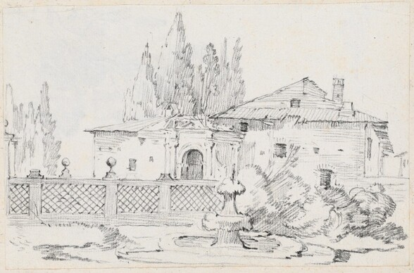House and Trees across a Garden Wall
