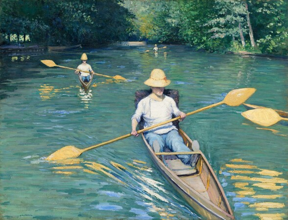 We seem to hover over and look slightly down onto the surface of a river in which three narrow canoes, each paddled by a single person, are being rowed towards us in this horizontal landscape painting. The rowers wear white shirts rolled up to the elbows, light blue pants, and straw-yellow, wide-brimmed hats pulled down over the eyes. They sit in the bottom of their boats with legs extended and the handle of the double-bladed paddle straddling the boat over their laps. The canoe closest to us comes almost directly towards us and is angled slightly to our right as it cuts through the surface of the river, its tip extending off the bottom edge of the canvas. The second canoe is a couple of boat lengths behind and to our left of the closest canoe. The third is small in the distance, near the horizon that comes three-quarters of the way up the composition. The back end of a fourth canoe and a single paddle extends into the scene from the right edge of the canvas. The butter yellow paddles are reflected in the pale sage green and sky blue of the river's surface. The river is lined on both sides with lush trees and vegetation, which fills the top quarter of the painting above the horizon.