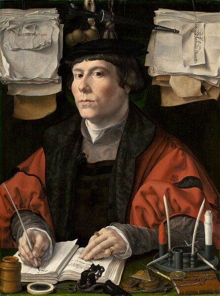 """Shown from about the chest up, behind a forest-green, narrow desktop, a cleanshaven man with smooth, pale pink skin writes in an open book with a quill pen as he looks out at us, surrounded closely by papers, pens and ink, and other objects in this vertical portrait painting. His body is angled a little to our left but he tips his head slightly back and looks at us from the corners of his dark brown eyes under arched brows. He has a short, round nose, high cheekbones, and his pale pink lips are slightly pursed. His short, chestnut-brown hair curls over his ears and bangs sweep across his forehead. His ebony black beret is adorned over his right eyebrow, on our left, with a metallic badge with an intertwined I, A, S. He wears a crimson-red jacket with puffy red sleeves decorated with black bands. Black lapels open onto a dark garment that has pewter-gray panel over the upper chest and gray sleeves. The pearl-white garment beneath along the neckline and cuffs. His left hand, on our right, rests with fingers extended on a page with writing on the open book, and he wears a gold ring incised with """"IS"""" on his forefinger and a gold band with a ruby-red gem on his pinkie. He writes the beginning of a word with his opposite hand. In front of him, on the ledge, is a talc shaker pierced with tiny holes in the top, a magnifying glass, a black inkpot, and a small pair of scissors. Near his left elbow, on our right, is a pile of coins, a pair of scales with weights, and a small leather-bound book, and a receptacle for rolled-up paper and quills. A thick sheaf of curling, crinkled papers hangs to either side of his head. The stack to the left is marked """"Alrehande Misseven"""" and the stack to our right is labeled """"Alrehande Minuten."""" A black dagger, a tassel, and a set of at least four balls about the size of ping pong balls hangs between the sheafs, against the dark background."""