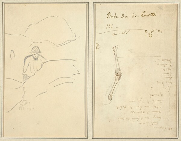Breton Boy in a Landscape; Study of an Arm [verso]