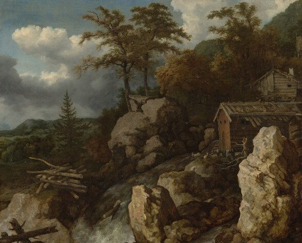 Waterfall with Log Cabins
