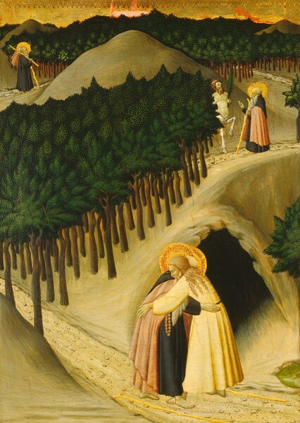 Three scenes showing the same person, Saint Anthony, are spaced along a path that winds from the lower right corner and around hills and trees into the distance in this vertical painting. In all three scenes, Saint Anthony has pale skin, a long white beard, and a halo framing a fringe of white hair around a balding head. He is barefoot and wears a black monk's robe, and either wears or carries a coral pink cloak. Closest to us, in front of the mouth of a dark cave, Saint Anthony embraces a light-skinned, bearded man with long, curly blond hair. He wears cream-colored robes and also has a halo. Two walking sticks lay on the ground at their feet. The pebble-lined path disappears between stylized trees painted with smooth dark brown trunks and canopies created with evergreen and spring green dots over a ground of forest green. To our right and farther along the path as it rises along the ridge of a hill, Saint Anthony meets a centaur, which has the torso and head of a man and legs of a horse. The centaur holds a palm frond and Saint Anthony raises a hand as if speaking. On the opposite side of the hill, in the distance to our left, Saint Anthony walks along the path with a walking stick, and his pink robe hangs over a second long stick slung over his shoulder. Trees running along the background come nearly to the top of the panel, but a sliver of sky is painted gold and the top edge is punched or embossed with a decorative pattern. Pale red shapes beyond the trees could be a building, perhaps a church, rising in the distance.