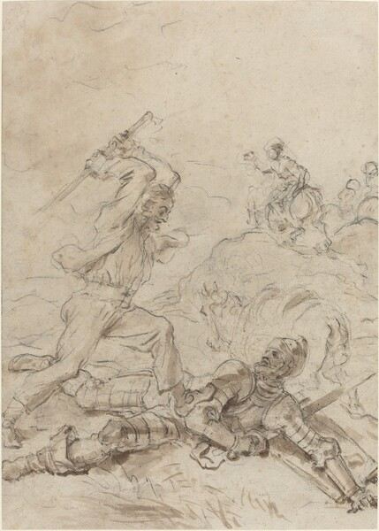 The Muleteer Attacking Don Quixote as He Lies Helpless on the Ground