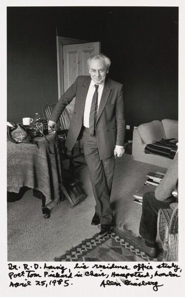 Dr. R. D. Laing, his residence office study, Poet Tom Pickard in chair, Hampstead, London April 25, 1985.