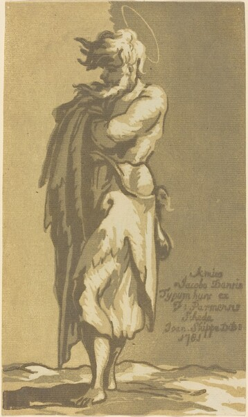 Male Saint Standing, with Folded Arms, Facing to the Left
