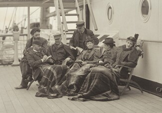 image: Sime Herrmann, Mr. and Mrs. Mann, Dr. Brown, Mr. McGibbon, Miss Linthicum and Emmy—On Board the Bourgogne May 5–14, 1896