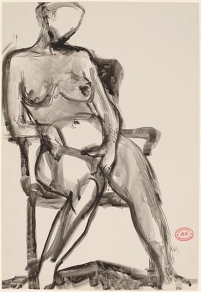 Untitled [seated nude leaning on armrest]