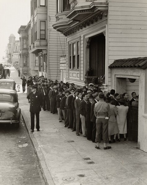 Residents, of Japanese ancestry, appearing at the Civil control station for registration in response to the Army