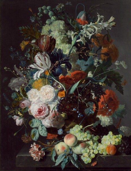 Against a dark background, an abundant, colorful arrangement of a variety of flowers and fruit fills this vertical painting. Set on a stone ledge, a barely visible terracotta vase contains an overflowing bouquet of flowers and greenery. Carnations, tulips, peonies, roses, tuberoses, hops, and other flowers create swirling, circular patterns that sweep across the panel. Peaches and green and purple grapes are piled on the ledge to our right, and an orange butterfly perches below. Barely noticeable, small, pale blue, yellow, white, and orange butterflies hover around the arrangement, while various insects and flies crawl on a few of the flowers and pieces of fruit. Drops of water reflect the light on some of the greenery, fruit, and tulip petals. The flowers are strongly lit across the face of the arrangement, which creates deep shadows to the sides and back.