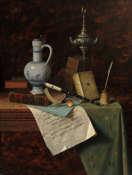 """A smoking pipe, piccolo, books, sheet music, an oil-burning lamp, a white and blue pitcher, and a few matches are arranged on a wooden tabletop against a dark background in this vertical still life painting. The black piccolo has a white mouthpiece and is propped on some books at the center of the composition. The piccolo rests on the spine of a paper-bound book, which in turn leans on a volume bound in chocolate brown leather tooled with green, red, and gold bands. Under the book, a baby blue page sits on some sheet music that drapes over the front of the table towards us. The blue cover bears the letters, """"RICOLETT"""" and the sheet music below is labeled, """"HELAS QUELLE DOULEUR CANTIQUE."""" The edges of the paper are dogeared, tattered, and stained. A short smoking pipe with a rounded brown and ivory bowl, possibly carved from wood, rests upside-down on the sheet music. To our left and sitting on the brown book, a white pitcher with a tall neck and handle is painted with a landscape scene in blue on its rounded body over a flaring foot. Two more books are propped behind the brown volume so the dyed edges, one red and one green, face us. In front of those, one used and two unused matches sit on the tabletop. A white feather writing quill sits in a tapered, ivory-colored inkwell at the front right corner on a stained sage-green cloth covering the right half of the table. Behind the inkwell and piccolo, two more books lean against a tall silvery metal lamp, its wicks charred near the burners extending off the reservoir. One book with a parchment-white cover has been placed upside down but the text """"SHAKESPEARE"""" and """"1605"""" are legible. The spine of a taller, pecan-brown book behind it reads """"DANTE."""" The background is mottled with shades of dark brown and terracotta. The artist signed and dated this work with red paint in the lower left corner: """"WMHARNETT 1888."""""""